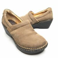 Born Concepts Tan Leather Clogs Slip On Comfortable Wedge Heel Women's 7 / 38