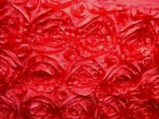 """TRUE RED Rosette Satin Fabric Ribbon Red Rose allover 108"""" Long  x 14"""" wide"""