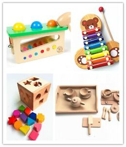 Educational Wooden Toys  - Kitchen set, Pounds and Roll, Xylophone, Shape sorter