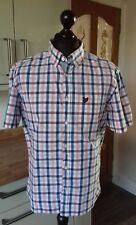 mens lyle and scott XL casual shirt button down collar 100% cotton check blue UK