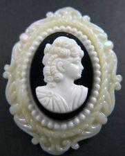 White Black (Br15) Vintage Cameo Brooch
