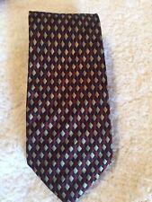 STONEHENGE 100% SILK Men's Neck Tie HANDMADE GOLD WITH BURGUNDY & BLACK