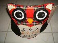 Weighted Stuffed OWL Doorstop PLAID Christmas Holiday RED Black XMAS Winter