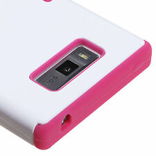 For LG Optimus Showtime L86c Rubber IMPACT TUFF HYBRID Case Cover White Pink