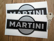 "MARTINI Shaped Black & Silver 6"" Pair Car STICKERS Street Race Racing Bike Vinyl"