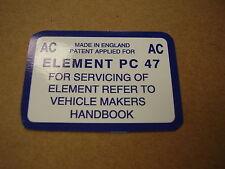 Mk1 Escort Mexico Air Box AC Service Sticker
