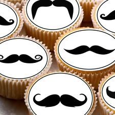 24 Edible cake toppers wafer rice paper moustache Mens Movember