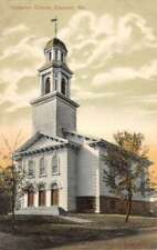 Eastport Maine Unitarian Church Street View Antique Postcard K102324
