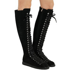 $950 Alexander Wang Emmanuel Black Suede Lace  Knee High Boots Flat Booties 38.5