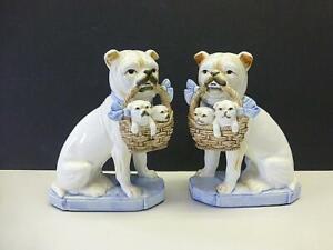 2 Vintage Fitz & Floyd Pug Terrier Dog & Puppies Basket Bookends Figurines PAIR