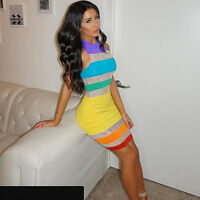 Women sleeveless colorful striped bodycon clubwear cocktail party mini dress