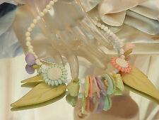 Very Sweet Pastel Flower Necklace Vintage 80's Pink Blue Lavender White 112m7
