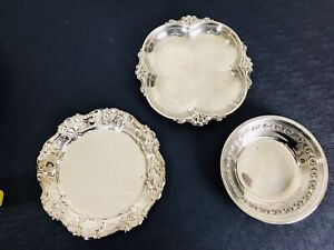"""3 Victorian Silver Plated small trinket bowl 7"""" wedding decor romantic cottage"""