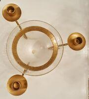 Taper Candle Holder Vase Floral Arrangement Centerpiece Matte Gold Crackle Glass