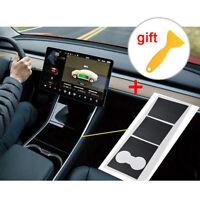 For Tesla Model-3 Center Console Inner Cover Sticker Vinyl Wrap Kit Carbon Fiber