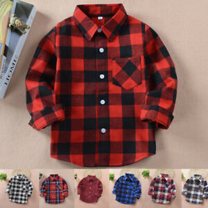 Kids Boys Girls 100% Cotton Checked Plaid Flannel Button Up Shirt Tops 2-10 Year