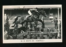 Horses Show Jumping W. H. White on NIZEFELA  c1950s RP PPC by Valentine