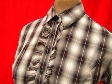 TM Lewin Black white Pink Tartan Check Cotton Ruffled Frilly dressage Shirt 10