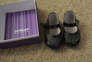Pediped Girls Alyssa Black Small 6-12 Mo Leather Booties Shoes 4-4.5