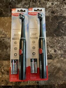 2 Colgate 360 Advanced Charcoal Infused Bristles Battery Powered Toothbrush