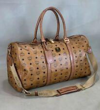 "MCM Monogram Visetos Brown Cognac Coated Canvas Heritage 20"" Weekend Duffle  Bag e51942a1e8a56"
