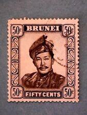 Brunei. QE2 1952 50c Black & Ultramarine. Wmk Mult Script CA. SG110. P13. Used.