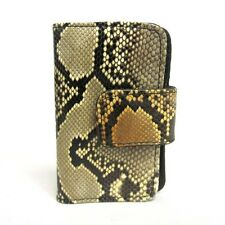 NEW WOMEN'S GENUINE SAND PYTHON,SNAKE SKIN KEY CHAIN WALLET WITH GOLD HARDWARE