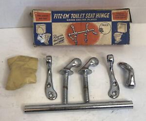 "Antique ""Fitz-Em"" Toilet Seat Hinge Chrome Hardware Vintage W/Box Missing 1 pc"