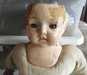 """Vintage 1920s Effanbee Composition Cloth Effanbee Girl Doll 18"""" Tall to Restore"""