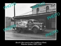 OLD POSTCARD SIZE PHOTO OF RESCHS BREWERY BEER TRUCK c1940s SYDNEY NSW
