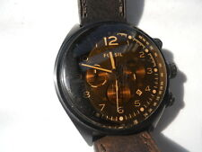 Fossil chronograph men's brown leather band.quartz & battery dress watch.Ch-2782