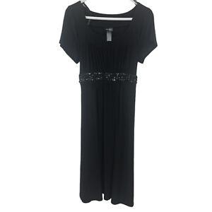 Bisou Bisou Womens Polyester Midi Dress Black Ladies Size 16 NWT