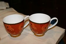 2 LARGE ENGLISH Coffee Mugs 16 oz.Orange Flowers Portobello By INSPIRE