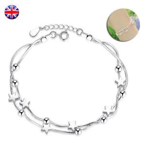 925 Sterling Silver Bead Star Love Charm Linked Bracelet Womens Ladies Jewellery