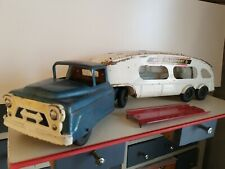Vintage Marx Auto Transport Truck and Trailer w/Ramp, Pressed Steel Toy Vehicle