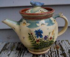 Bluebird Lidded TEAPOT - Aldrich Valley Pottery  Signed Bird Finial Wildflower