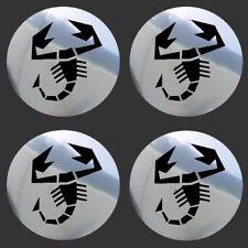 4 adhésifs sticker noir chrome ABARTH  de 40 à 100 MM pour centre de jantes