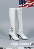 """1/6 Scale Boots WHITE For 12"""" TBLeague Hot Toys PHICEN Female Figure ❶USA❶"""