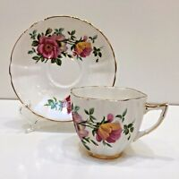 Royal London Bone China Teacup & Saucer England Pink Wild Roses, Scalloped Edge