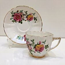 Royal London Bone China Teacup & Saucer England Pink Wild Roses, Scalloped Edge