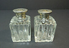 Beautiful Pair of Antique Cologne / Perfume Bottles, Sterling Partial Gilt Tops