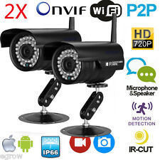 2x 720P Wireless IP Camera Outdoor P2P Plug&Play Network Waterproof WiFi Rec