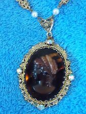 Vintage 1950's Large Cameo Aurora Borealis Crystals Faux Pear Gold Tone Necklace