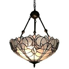 "Hanging Ceiling Pendant 2 Light Lamp Tiffany Style Shade Mahogany Finish 18"" Dia"