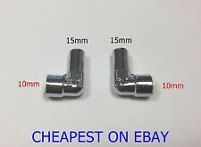 STEM ELBOW x2 15mm x 10mm Pushfit Radiator Valve Chrome Reducing Elbow PAIR