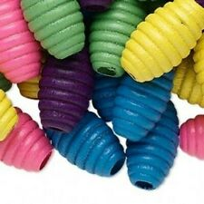 15 Fluted Carved Mixed Color Big 20mm Oval Wood Focal Beads