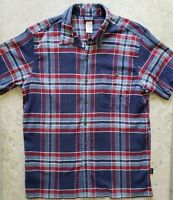 Patagonia Men's Short Sleeve Button Front Plaid Shirt Blue Red Cotton Size M