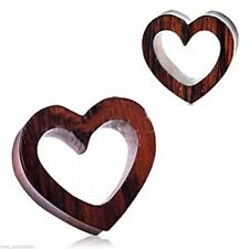 """PAIR-Wood Sono Heart Double Flare Tunnels 14mm/9/16"""" Gauge Body Jewelry"""