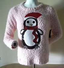 SEQUIN PENGUIN PINK CHENILLE CHRISTMAS SWEATER JUNIORS XXL NEW W/TAG!