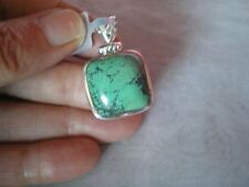 Tibetan Turquoise pendant, 20 carats, set in 4.45 grams of 925 Sterling Silver